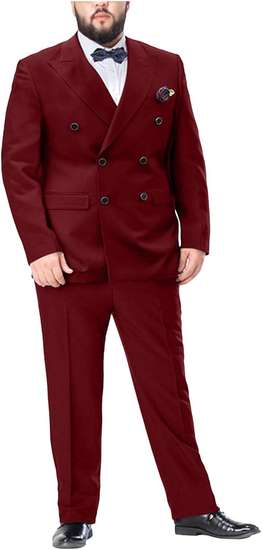 Men's 2 Pc Double Breasted Suit Big & Tall Peak Lapel Wedding Tux Suit Pants