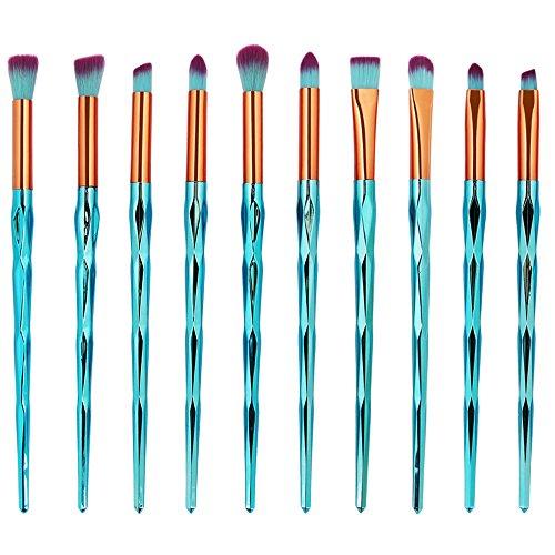 MEIYY Pinceau de maquillage 10Pcs Fishtail Makeup Brushes Set Foundation Eyeshadow Concealer Contour Lip Brushes Nylon Fiber Make Up Beauty