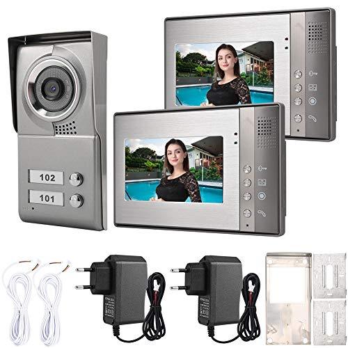 Videoportero de 7 Pulgadas con Cable, Sistema de cámaras de Seguridad para el hogar, teléfono con Puerta, cámaras de intercomunicación de Alta definición para Uso Familiar en el hogar(UE)