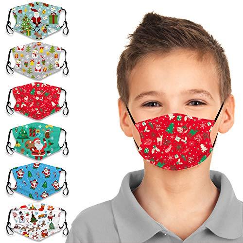 Micyon 6Pcs Reusable Kids Face Bandanas Christmas Cute Cartoon Print Face Cotton Dust Protection for Toddlers Children