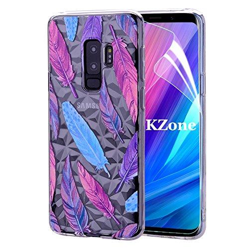 OKZone Coque Galaxy S9 Plus [avec Film de Protection écran HD], 3D Design Mince Géométrique Élégant Motif Étui en Silicone Souple,TPU Etui de Protection pour Samsung Galaxy S9 Plus (Plume)
