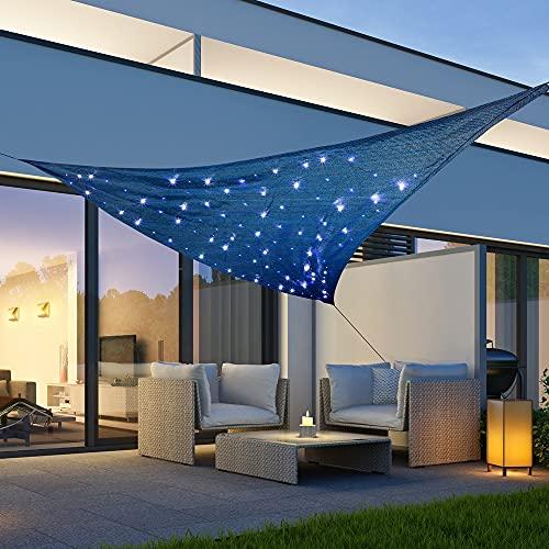 Toldo triangular 'cielo estrellado' con 100 microledes de 360 x 360 x 360 cm, solar con iluminación LED, resistente a la intemperie, con protección UV, color azul