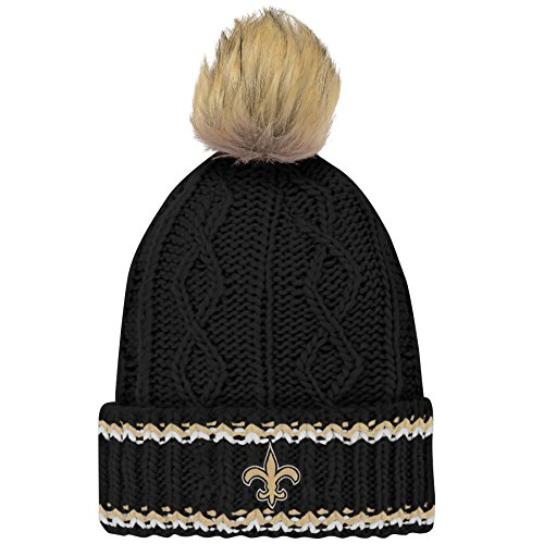 Outerstuff NFL New Orleans Saints Youth Girls Fan-Core Furry Pom Cable Knit Hat Black, Youth Girls One Size 7-21