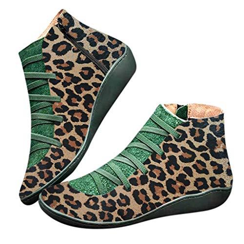 Fenverk 2019 Neue Frauen Casual Arch Support Stiefel Stiefeletten Damen Flache Slip-On Bequeme Booties Side ReißVerschluss Schuhe Anti-Vintage SchnüRschuhe Fersenstiefel Kurzer Boot(B Braun,39 EU)