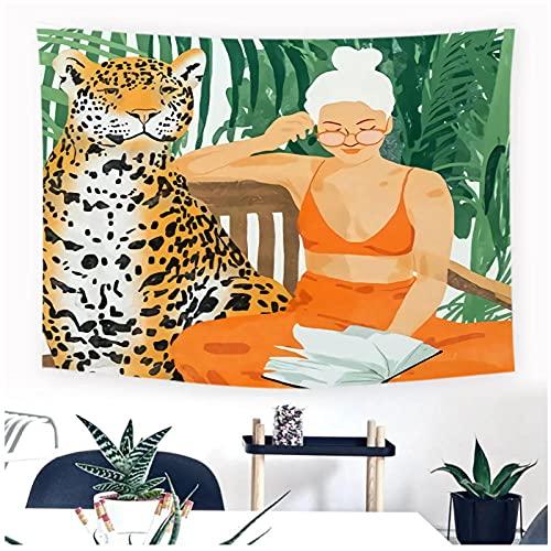 DXYM Pintura plantas tropicales tapiz cabecera pared arte colcha dormitorio tapiz para sala de estar dormitorio decoración del hogar 59 * 78 pulgadas