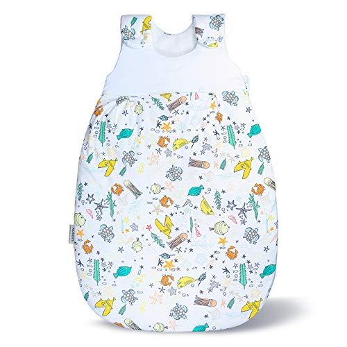 Baby Schlafsack & Strampler vom Kliniklieferant Nr. 1 | Für Alter 0 bis 12 Monate | Öko-Tex 100 zertifiziert | Sicher & Nachhaltig | Anti-Allergisch & Komfortabel Meerestiere Größe: 74/80
