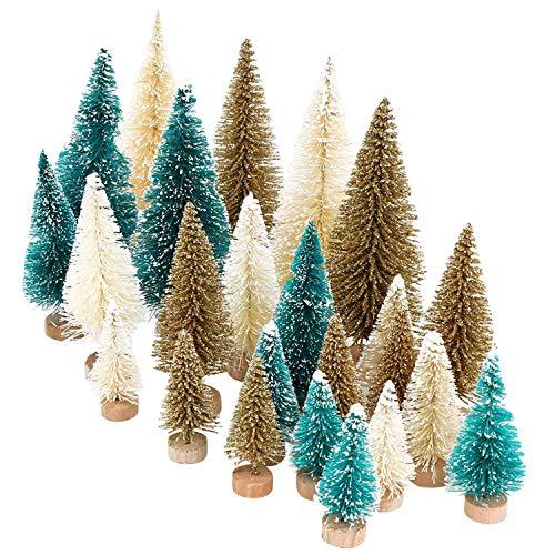 LAEMILIA 24 Stücke Deko Tannenbaum Weihnachtsbaum künstlich Klein Holz Mini Weihnachtsbaum Weihnachten Dekoration Tischdeko in Braun Grün Weiß DREI Größen, DIY, Schaufenster