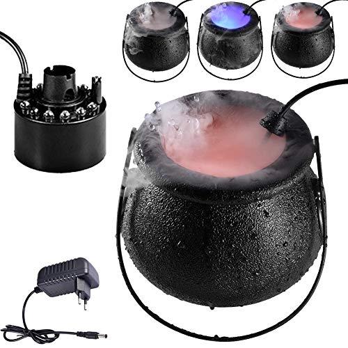 thorityau Mini Halloween Nebelmaschine - 12 LED Mist Maker Geeignet Mit Bunten Lichtern, Nebelmaschinen Nebel Für Halloween, Kessel Rauchen Nebelmacher Sprühdekoration Party