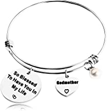 REEBOOOR Godmother Gift Godmother Bracelet Mother`s Day Gift So Blessed to Have You in My Life Faith Gift for Godmother