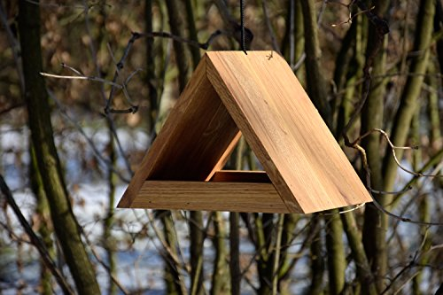 Luxus-Vogelhaus 46620e Modernes dreieckiges Eichenholz-Futterhaus mit Kordel-Aufhängung - 6