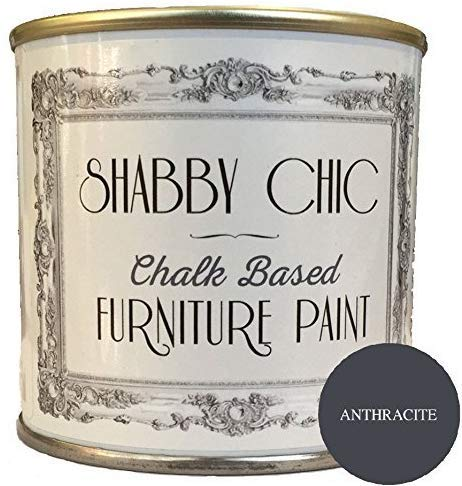 Shabby Chic Chalk Based Furniture Paint - Anthracite 250ml - Chalked, Use on Wood, Stone, Brick, Metal, Plaster or Plastic, No Primer Needed, Made in the UK.