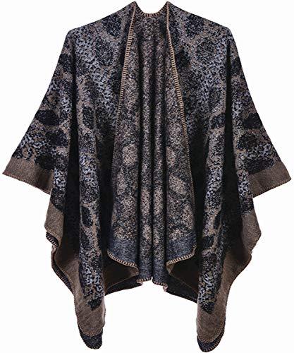 Shmily Meisje - Vrouwen Poncho Cape Vest Open Front Elegante Cape Wrap Sjaal Wrap