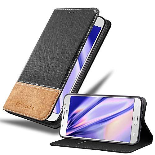 Cadorabo Hülle für Samsung Galaxy J7 2016 in SCHWARZ BRAUN – Handyhülle mit Magnetverschluss, Standfunktion & Kartenfach – Hülle Cover Schutzhülle Etui Tasche Book Klapp Style