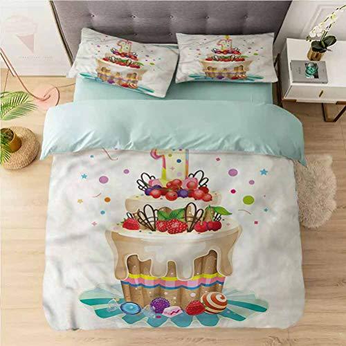 Aishare Store Juego de funda de edredón de 3 piezas de Californai King, 1er cumpleaños, pastel de fiesta para bebé, 1 funda de edredón con 2 fundas de almohada colección de ropa de cama