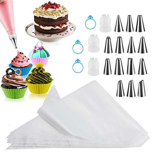 Piping Bags 100PCS, Firstake 12 Inch Premium Pastry Bags and Tips Sets, Disposable Piping Bags and Tips, Baking Supplies Icing Piping Bags Pastry Bag for Baking Cupcake, Cookies and Cake Decorating