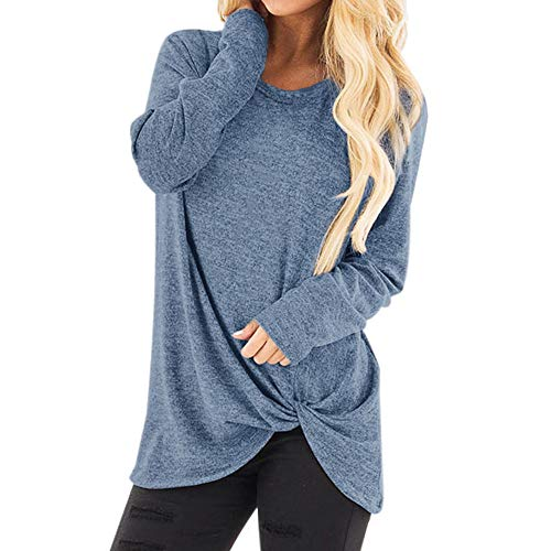 Vrouwen Mode Losse Lange Mouw Sweatshirt - Dames Effen Kleur O-Hals Casual Baggy T-Shirt Blouse Tops