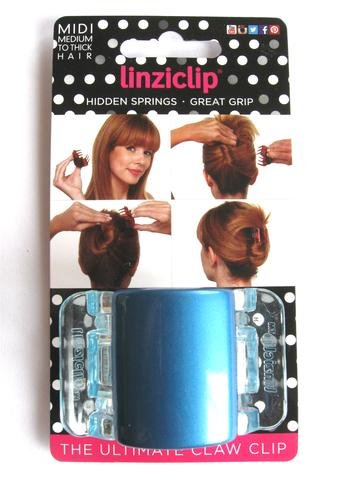 Linziclip Midi The Ultimate Claw Clip Pearlised Blue/Clear Wings