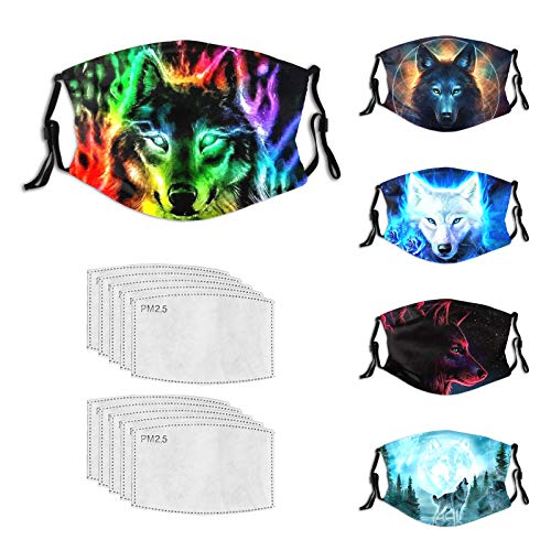 nevoli 5 PCS Cool Wolf Head Face Mask Easily Washable and Reusable Mask with 10 Filters