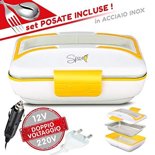SPICE – Handtuchwärmer Amarillo INOX Trio Plus, tragbar, Lunchbox, doppelt, 220 V, 12 V, mit ausziehbarem Behälter, aus Edelstahl, 40 W, Deckel mit Dichtung