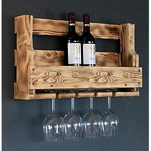 Weinregal aus Holz für die Wand – mit Gläserhalter – Geflammt – fertig montiert – Regal für Weinflaschen und Weingläser