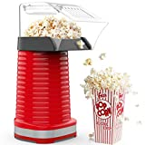 Hot Air Popcorn Popper, 1200W Electric Popcorn Maker, Household Popcorn Machine for Healthy Snacks, No Oil Needed, High Efficiency, ETL Certified, BPA-Free, DIY Your Own Taste, Great for Family Parties and Movies Night, Red