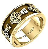 US Jewels Men's 10k Yellow Gold 9mm Irish Celtic Knotwork Cross Ring Band, 15 Size