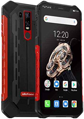 Ulefone Armor 6S (2019) Outdoor Smartphone mit Qi fähig, 6GB RAM + 128GB interner Speicher Helio P70 Android 9.0 Handy IP69K, 6.2 Zoll FHD+ Display, 5000mAh Akku, UV-Detektor, Globale 4G Version (Rot)