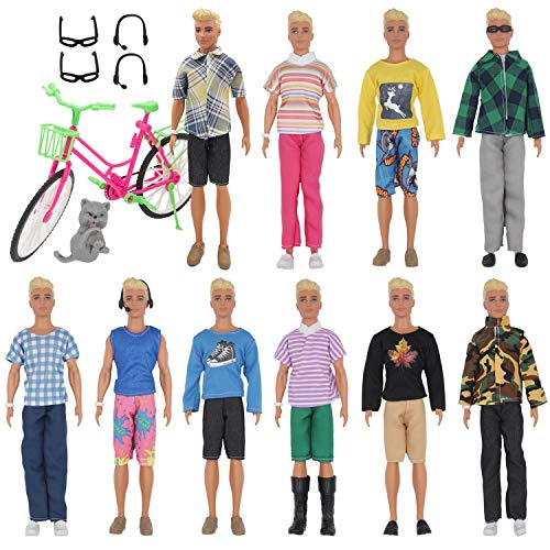 EuTengHao 26Pcs Doll Clothes and Accessories for 12 Inch Boy Dolls Include 20 Different Wear Clothes Shirt Jeans Set for 12'' Boy Doll Glasses Earphones Cat and Big Bike for 30cm Boy Doll