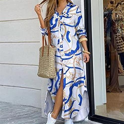 Vestido de camisa de manga larga para mujer Otoño Impreso Vestidos largos Cuello de rechazo suelto Sundress Vestidos de fiesta (Color : White blue, Size : M)