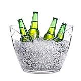Eiseimer Eisbehälter Eiskühler Eiskübel Champagner Und Bier Cooler - PC Transparent 8L Kapazität - Tragegriff