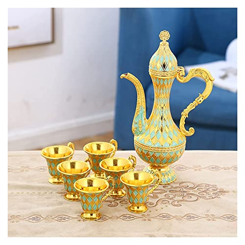 DWhui Conjunto de té de Taza de café for 6 Incluyendo Bandeja y cafetera,Juego de té Turco for el Regalo de la Capa (Color : Green)