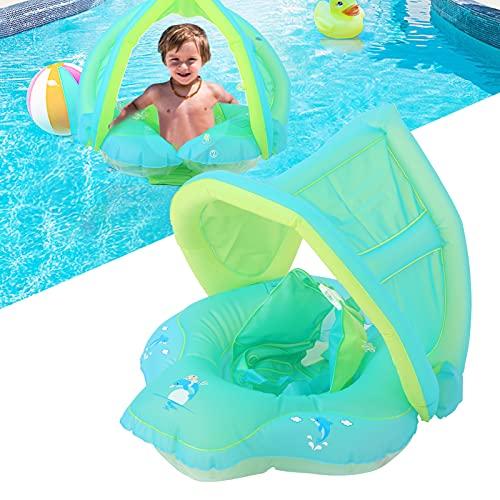 XQAQX Anillo de natación, Anillos de natación para Piscina, Anillo de natación Airbag de Doble Capa antifugas con toldo para niños de 3 Meses a 6 años