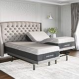 Sven & Son Split King Adjustable Bed Base Frame Platinum (Individual Head Tilt & Lumbar) + 14' Hybrid Cool Gel Memory Foam Mattress and Adjustable Bed (Split King)