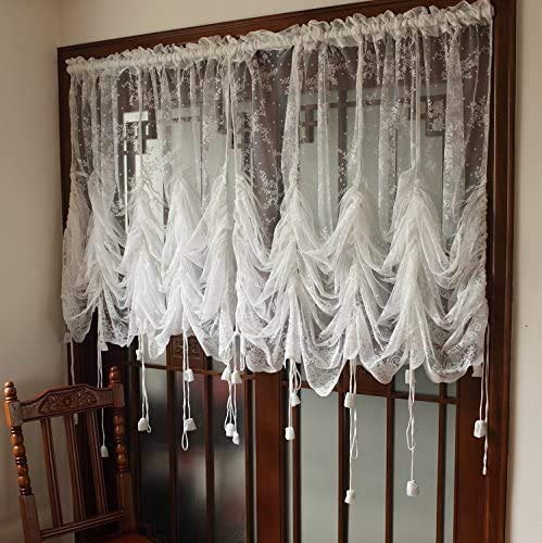 """SUCSES Shabby Chic Tie Up Curtains, White Lace Floral Balloon Sheer Curtain Valance for Kitchen Bedroom, Adjustable Ruffle Embroidery Farmhouse Window Shades, 1 Panel, 79"""" W x 90"""" H"""