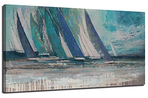 """Canvas Wall Art Abstract Blue Ocean Sailboat Picture Modern Coastal Painting, Large Size Prints Framed 60""""x30"""" One Panel Artwork for Living Room Bedroom Home Office Decor"""