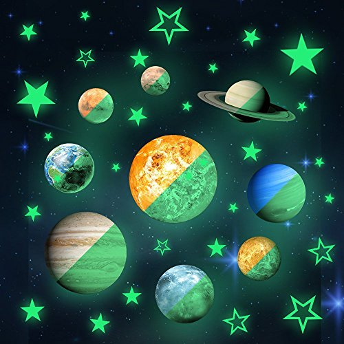 36pcs Removable Glow in the dark Planet Wall Stickers 9pcs with 27pcs stars Stickers ,Solar System Glowing Planets Wall Decals Peel Stick art Decor for Walls Ceiling Kids Bedroom Living Room