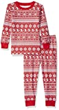 Amazon Essentials Baby 2-Piece Pajama Set, Red Snowflake, 6-12M