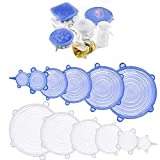 Silicone Stretch Lids (Set of 12),Reusable Food Container Cover Seal for Bowls, Mugs, Jars, Pots, Cans of Various Sizes (Blue+Clear)