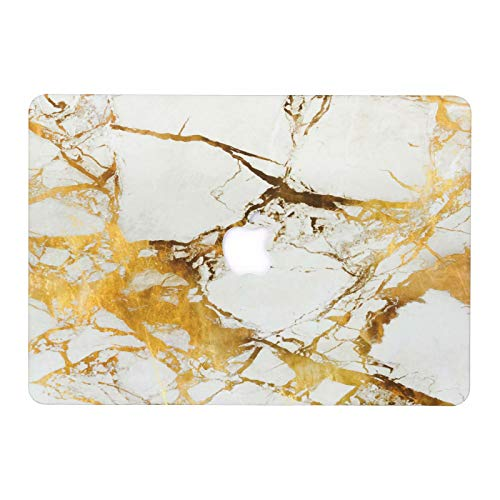 MacBook Air 13 Case, AQYLQ Super Thin Rubberized Coated Laptop Cover Shell Protective for Apple 13 inch MacBook Air 13.3' Model A1466 / A1369, DLBJ White & Gold Marble