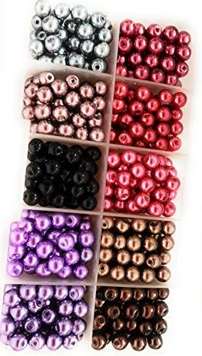 Lila Rode kralen mix met plastic doos 6 mm kralen 500 stuks in metallic glans DIY