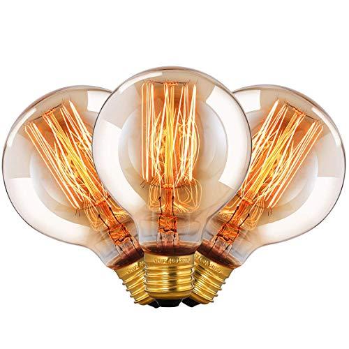 Edison Vintage Glühbirne E27 Dekorative Antike Leuchtmittel Globe Birne, G80 4W warmweiß 2700K Filament Lampe Ideal für Nostalgie und Retro Beleuchtung im Haus Café Bar - 6 Stück [Energieklasse A+]