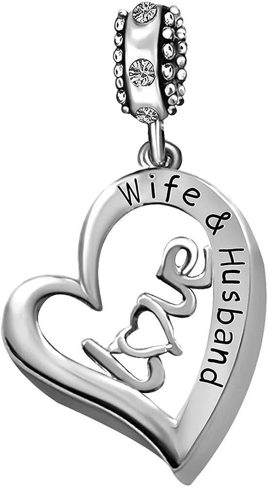 JMQJewelry Wife Husband Love Heart Birthstone Beads Charms For Bracelets Women Girls Jewelry Valentine's Christmas Gifts