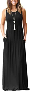 Women's Loose Plain Maxi Dresses Casual Long Dresses with Pockets