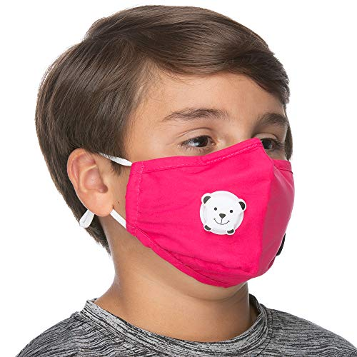 Children Size -3 Layers Mouth Cover - Adjustable Ear Loops Cotton Reusable - Replacement Filter Pocket - with Nose Bridge (Pink)