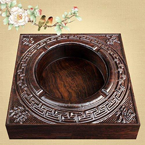 Cenicero Cuadrado Fu Lu Shou Glyph Ébano Caoba Relieve (16 * 16 * 5cm) Rollsnownow (Color: Sin Tapa)