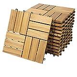Deuba Set de 11 baldosas'Mosaïco' de madera Acacia 30 x 30 cm por 1m² losas de terraza jardín...