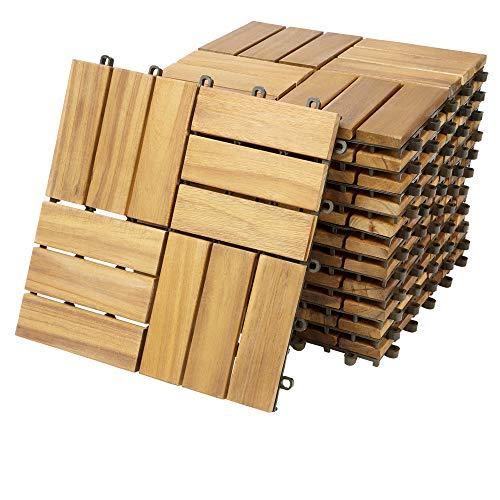 Casaria Holzfliesen FSC®-zertifiziertes Akazienholz 1m² Fliese Akazie Mosaik 30x30cm Klicksystem zuschneidbar Terrasse