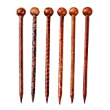 Sharplace 6pcs Pique à Cheveux Bâtonnets de Cheveux Naturel Santal Rouge à La Main Sculpté Pince à Cheveux Epingles à Cheveux 13 cm
