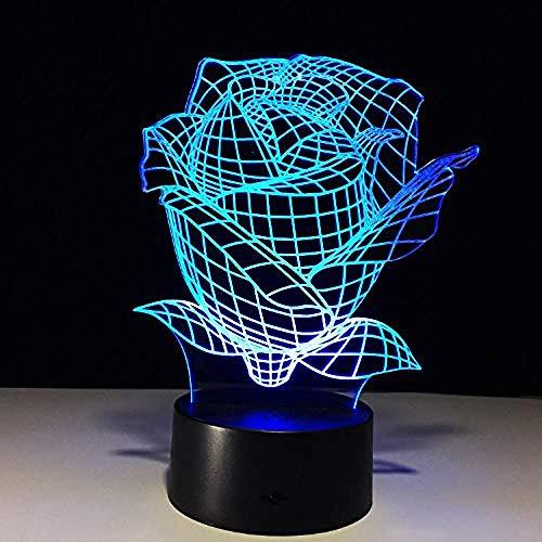 Lámparas de ilusión óptica LED 3D Luz nocturna Luz nocturna rosa Luz del día de la madre Luz nocturna del día Batería táctil