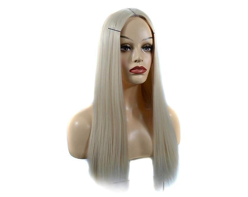 傷つきやすいルーインスタンスYESONEEP オンブルブラックウィッグロングストレートウィッグパーティー用かつら (Color : Milky white, サイズ : 60cm)